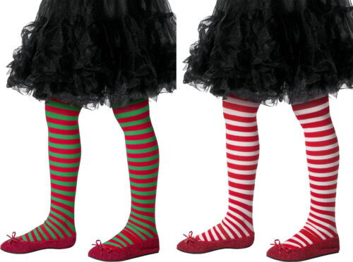 Childs Striped Tights Girls Christmas Stripy Elf Fancy Dress Costume New
