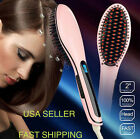 Pink Electric Hair Straightener Comb Brush Ceramic Iron LCD Fast High Quality