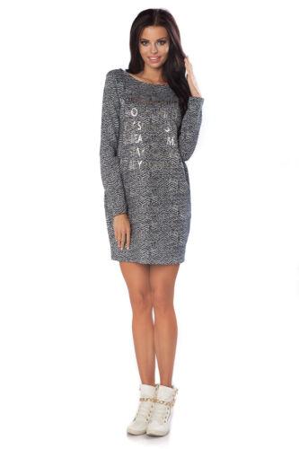 Womens Jumper Dress Long Sleeve Mini Dress Oversized Tunic Top Size 8-12 170