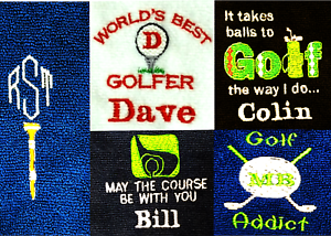 tri fold velour funny personalised golf towel 5 designs add name or