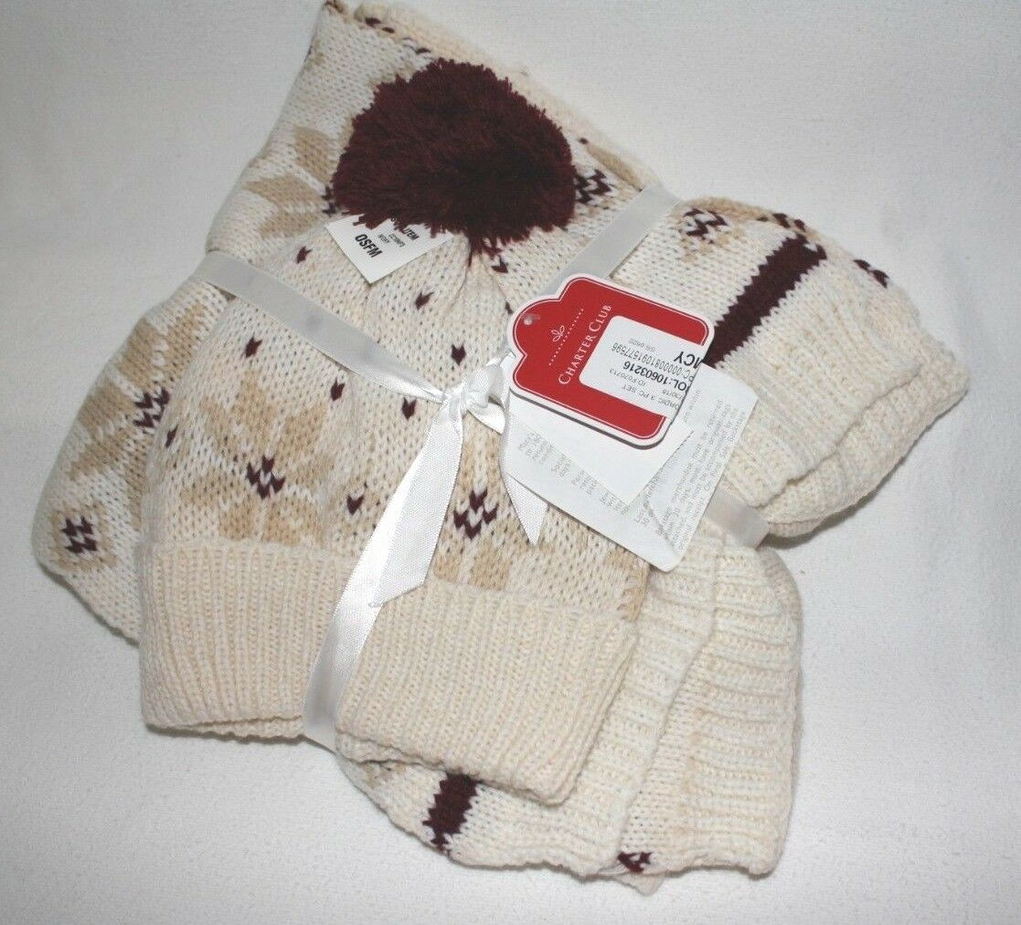 Charter Club Toma Nordic 2 pc. Set Hat And Scarf Color Ivory with Burgundy