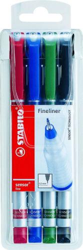 Schreibfarbe: 4er sortiert STABILO® Fineliner sensor® mit Kappe 0,3 mm F