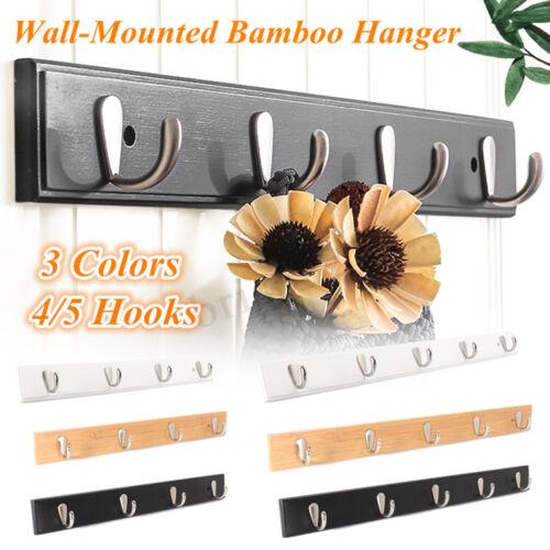 4//5 Metal Hook Wall Mount Bamboo Hanging Coat Rack Wall Hanger Clothes Holder