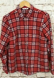 Lee-Riders-fleece-button-front-shirt-womens-large-red-plaid-long-sleeve-top-P1