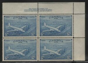 Canada 1946 17c Airmail Special Delivery plate block Sc# CE4 mint