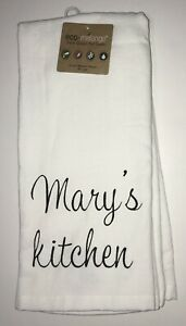 Mary S Kitchen Mary 2 Dish Towels White Hand Tea Personalized Name Farmhouse Ebay