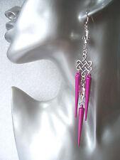 Very Long Pink Spike Skull Earrings - Emo Goth Punk Rock Chick Shoulder Dusters