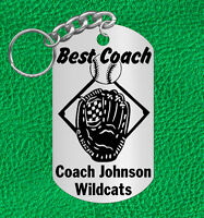 Baseball Coach Steel Keychain Gift, Personalized Free With Coach's Name & Team