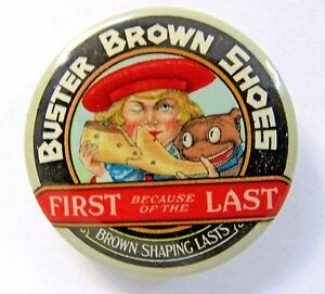 Buster Brown Advertising Silver Metal Hand Mirror A Promotional Giveaway Vanity Doll Size