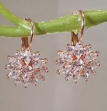 Brilliant Rose Gold CZ Flower Lever Back Earrings Pierced