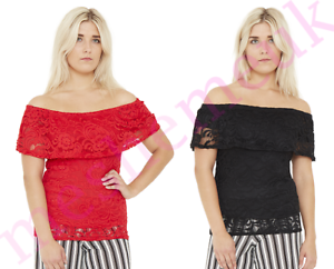 Womens-Lace-Frill-Bardot-Top-ladies-top-size-8-16