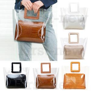 0dcd7af8fc62 Image is loading Women-Handbag-Transparent-PVC-Bag-Clear-Jelly-Soft-
