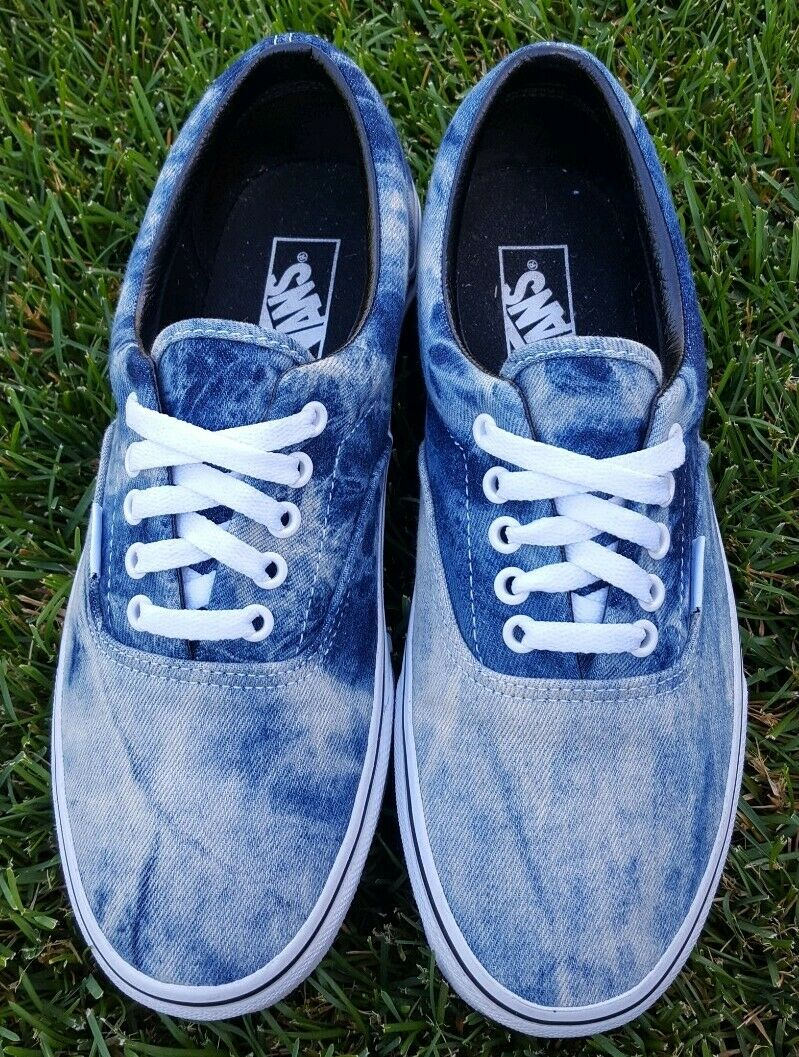 Vans Era Acid Wash Denim Mens 9 Super Clean Barely Worn Excellent Condition