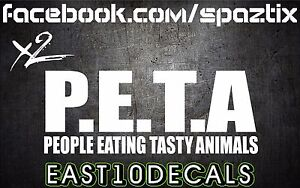 PETA People Eating Tasty Animals funny decal sticker car BUMPER vegetarian