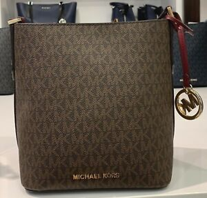 61e076d04d4410 Image is loading Michael-Kors-Kimberly-Brown-PVC-Signature-Small-Bucket-