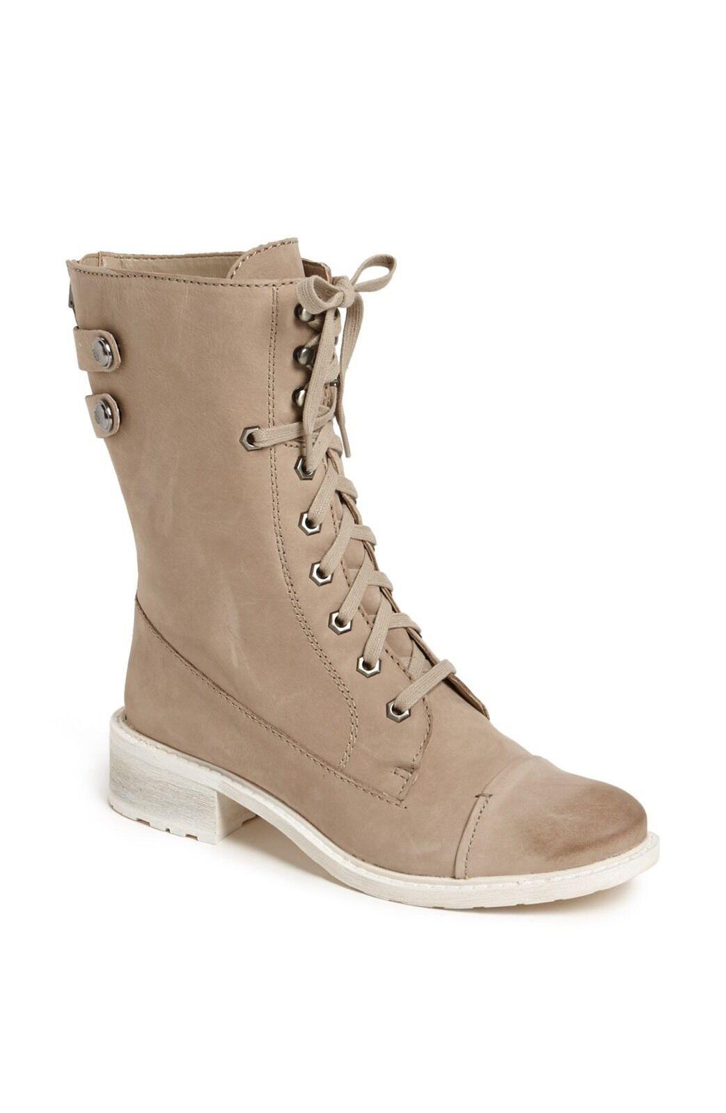 Sam Edelman Darwin Größe 10M Leder Moto Army Military Boot Lace Up Gray sneaker