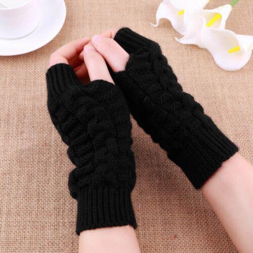 Fashion Unisex Men Women Knitted Fingerless Winter Gloves Soft Warm Mitten PK2