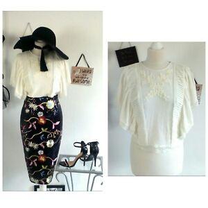 c617c72a53758 Zara sexy goth emo boho hippy romantic top blouse nude cream floral ...