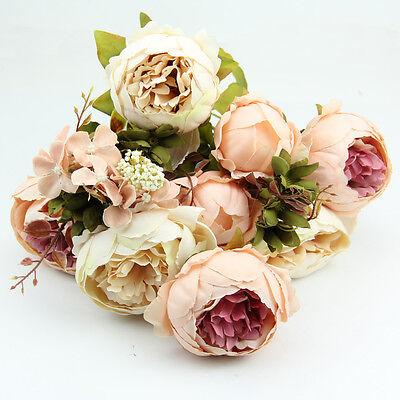 Artificial 10 Head Bouquet Peony Silk Flower Fake Leaf Home Wedding Party Decor