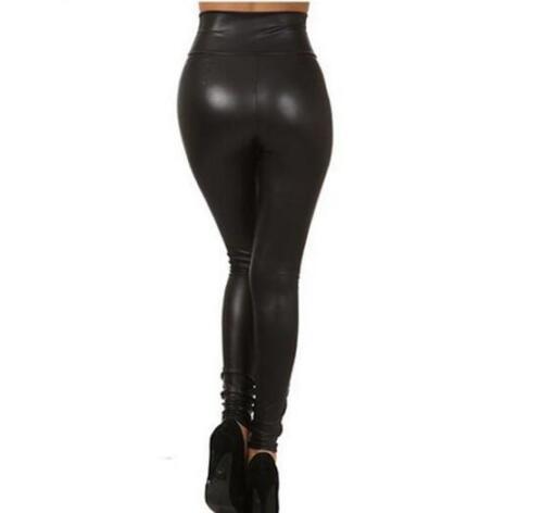 Women Leggings Punk High Waist Faux Leather Leggings Zipper Leggins Black Petite