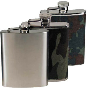 MFH flasque poches Bouteille Acier Inoxydable woodland camouflage Chrome Mat 170 225 ML  </span>
