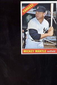 1966-Topps-Mickey-Mantle-50-YANKEE-BASEBALL-Card-sharp-image-nice-gloss