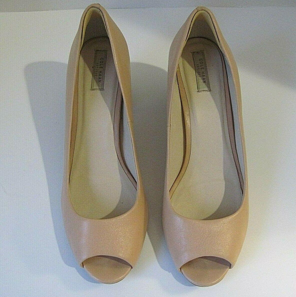 COLE HAAN GRAND OS Nude Beige Block Leather Open Toe Heels Block Beige Heel Größe 9 1 2 cbb260
