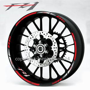 Fz1 Motorcycle Bike Wheel Decals Rim Stickers Set Stripes Yamaha