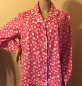 Karen Neuburger Pajama Set 1X Fleece Long Sleeves 1X Pink / White