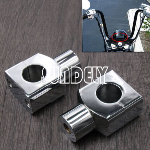 "Universal 1/"" 25mm Chrome Motorcycle Handle Bar Mounting Handlebar Risers Clamp"