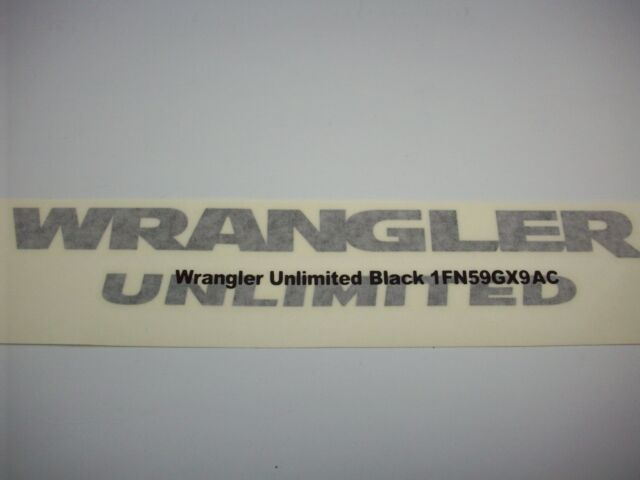 Black Jeep Wrangler Unlimited Decal 1FN59GX9AC OEM Mopar Factory Jeep Emblem