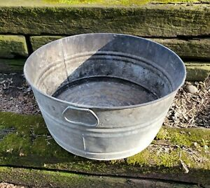 Vintage Galvanized Metal Wash Tub Planter Primitive Country Farm Antique Rustic Ebay