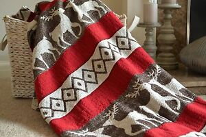 Cotton Throw Deer Blanket Present Soft 180cm x 130cm Indian Chenille