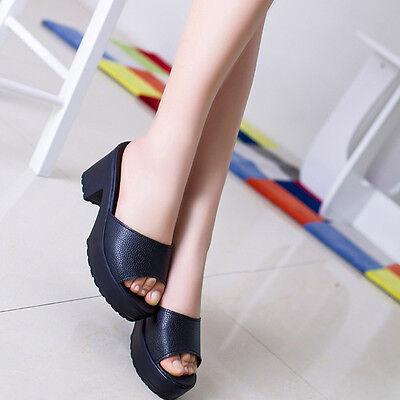 Women Fashion High Heel Leather Platform Shoes Ladies Wedges Flip Flop Sandals