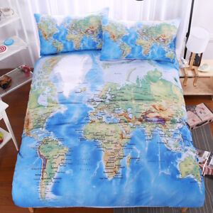 Image Is Loading World Map Bedding Set Vivid Printed Blue Bed