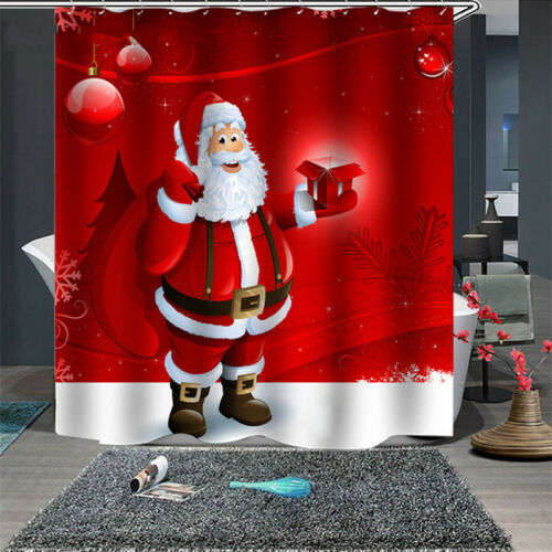 Christmas Santa Claus Waterproof Fabric Bathroom Shower Curtain 12 Hanging Hook