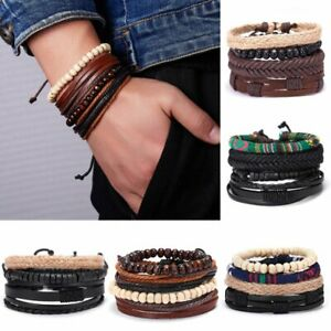 Men-039-s-Unisex-Punk-Leather-Bracelet-Handmade-Wristband-Bangle-Cool-Jewelry-Gift