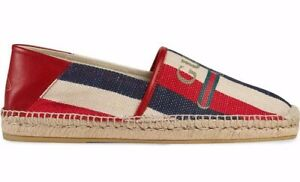 Details about Gucci Men Sylvie Canvas Leather Red White Blue Logo Stripe  Flat Espadrille G 6 7