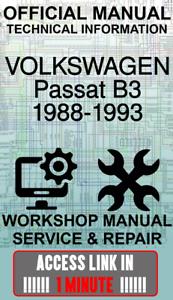 #ACCESS LINK OFFICIAL WORKSHOP MANUAL SERVICE VOLKSWAGEN PASSAT B3 1988-1993