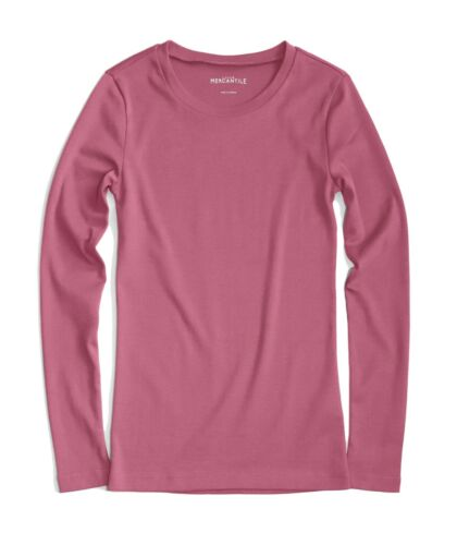 J.Crew Mercantile Womens M NWT Icy Rose Pink Fitted Long Sleeve Cotton Tee