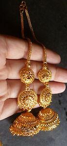 efe58199e 22K Gold Plated 3 Steps Long Chain Indian Jhumka Jhumki Earrings ...