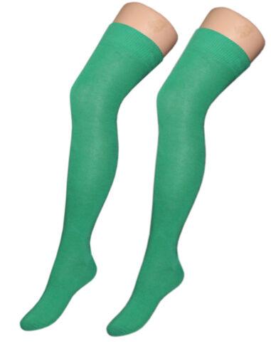 Over The Knee plain Irish Emerald Green St Patricks Day Leprechaun Socks Sox New