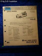 Sony Service Manual CCD SP5E Video Camera Recorder (#2826)
