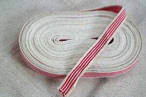 """10 yard 5/8"""" wide french cotton ticking red white striped ..."""