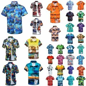 New-Adults-Kids-Cotton-Hawaiian-Beach-Shirt-Cool-Dry-Tropical-Summer-Casual-Tops