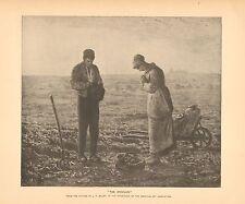 Farm Scene, Potato Harvest, Giving Thanks, Prayer, Vintage 1888 Antique Print