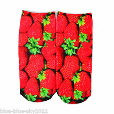 New STRAWBERRIES 3D Photo Trainer short SOCKS, UK Shoe Size 3-7 Polka-Dot 1 pair