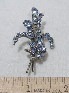 Vintage Silvertone Blue Rhinestone Flower Brooch