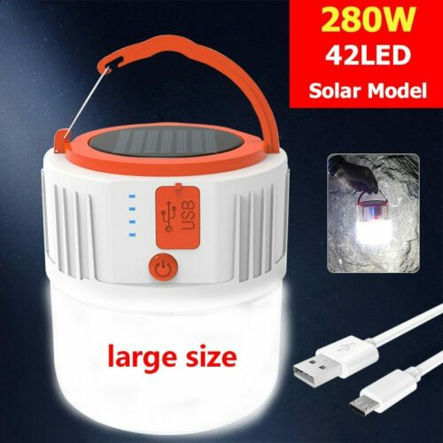 80000LM LED Bulbs Solar Rechargeable 5Modes Portable NightLight Built-in Battery
