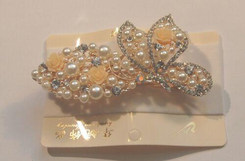 Haarklammer Haarspange Brautschmuck Straß weiß kristall franz Barrettspange